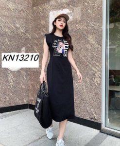 Đầm dài sát nách in hình cô gái -GV09 SALE OFF 30% TRÊN TOÀN QUỐC GIAO HÀNG NHANH