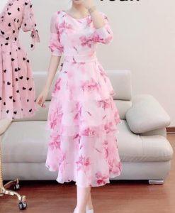 Đầm Dạ Hội cao cấp - Đầm xòe tay lỡ phối tầng in hoa - GV01