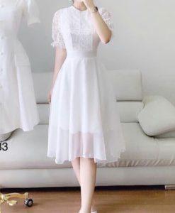 Đầm dạ hội cao cấp tphcm - Đầm xòe màu trắng phối ren - GV03