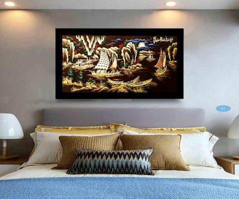 tranh tặng tân gia -tranh sơn mài - thuận buồm xuôi gió - Malanaz