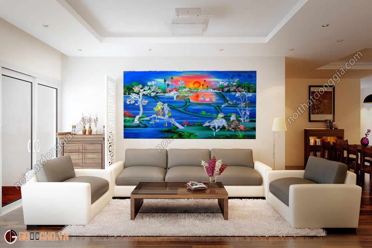 Tranh sơn mài phong cảnh làng quê - Nền xanh 01 - 60 x 80 cm - 0978219470 - Malanaz Shopping
