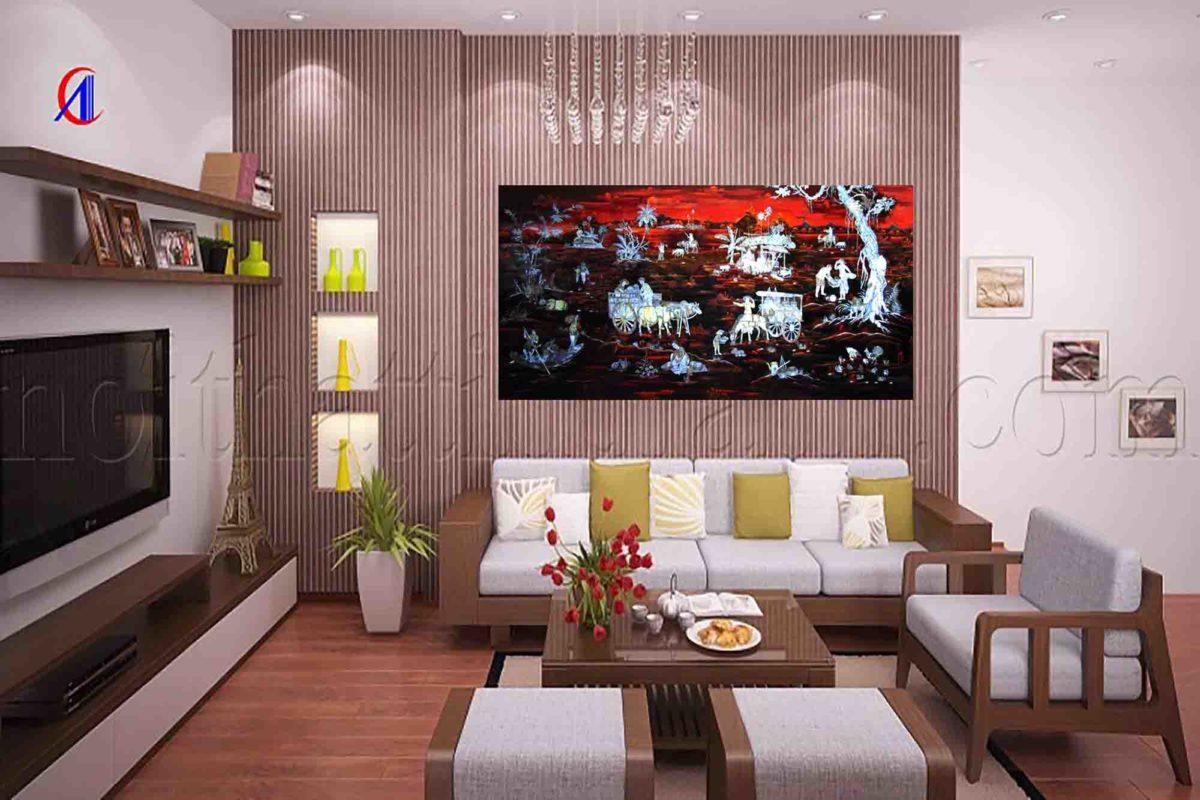 Tranh sơn mài đồng quê - MNDD01 -Malanaz Shopping - cung cấp tranh sơn mài