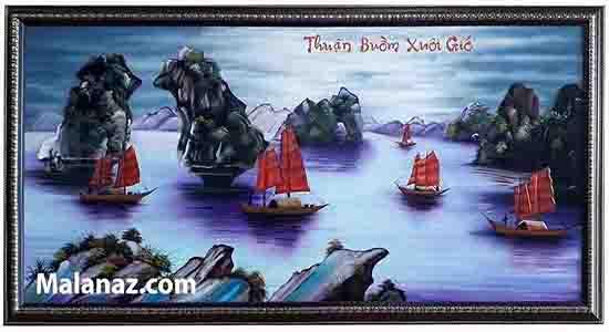 Tranh sơn mài Thuận buồm xuôi gió - nền tím A Small