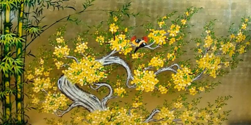 Tranh tặng tân gia - Tranh sơn mài hoa mai - Malanaz Shopping TY