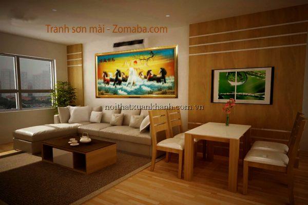 Tranh sơn mài mã đáo thành công -NMT01 - Malanaz shopping
