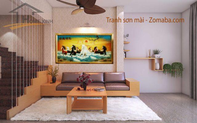Tranh sơn mài mã đáo thành công -NMT01 - Malanaz shopping sale