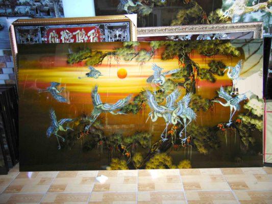 Tranh sơn mài tùng hạc - nền màu cam vàng - 120 x 240cm