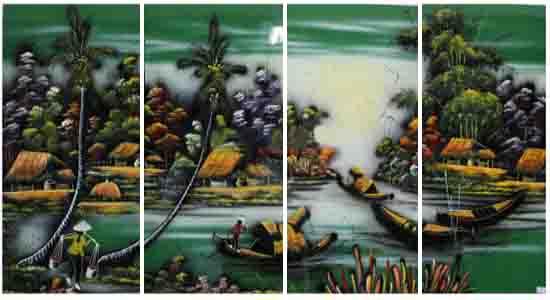 Mua tranh tặng tân gia - Tranh sơn mài đồng quê - DQ26 - A