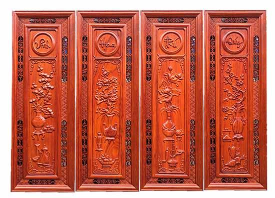 Tranh gỗ tứ quý hàng sơn PU Size 107x37x3 - ATranh gỗ tứ quý hàng sơn PU Size 107x37x3 - A