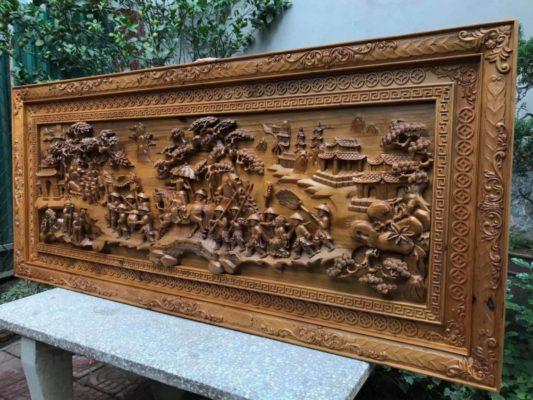 Tranh gỗ cao cấp - tranh gỗ vinh quy bái tổ gỗ bách xanh - Malanaz shopping sale