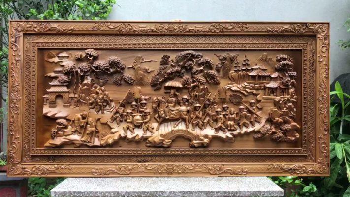 Tranh gỗ cao cấp - tranh gỗ vinh quy bái tổ gỗ bách xanh - Malanaz shopping