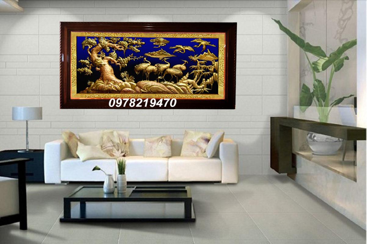 Tranh đồng trang trí phòng khách - Tranh tùng hạc ăn đêm TH04 - Malanaz.com