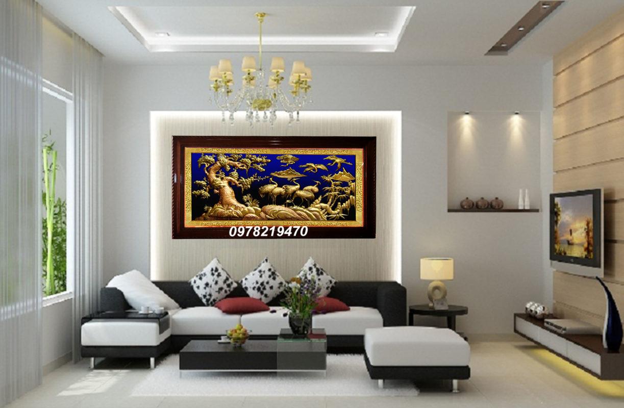 Tranh đồng trang trí phòng khách - Tranh tùng hạc ăn đêm TH04 - Malanaz.com sale