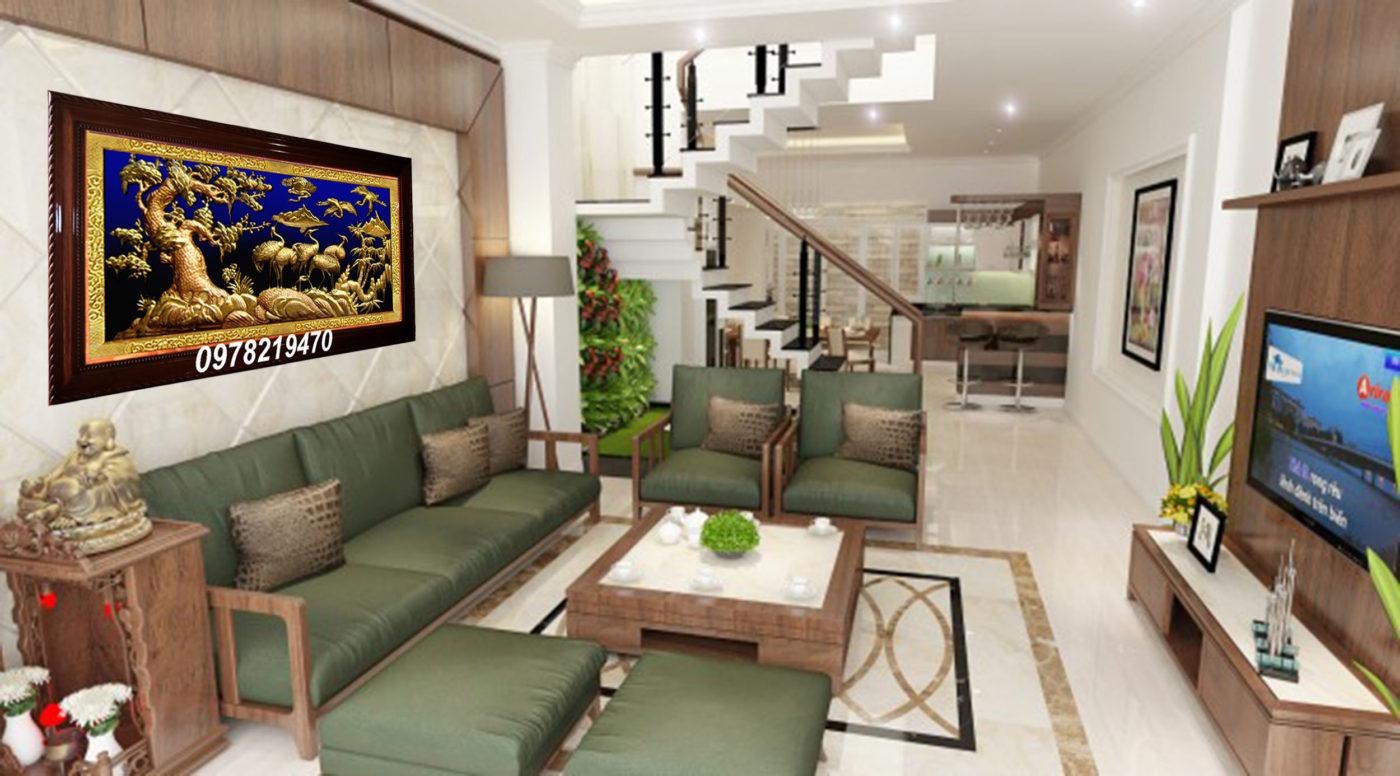 Tranh đồng trang trí phòng khách - Tranh tùng hạc ăn đêm TH04 - Malanaz.com sale 50%