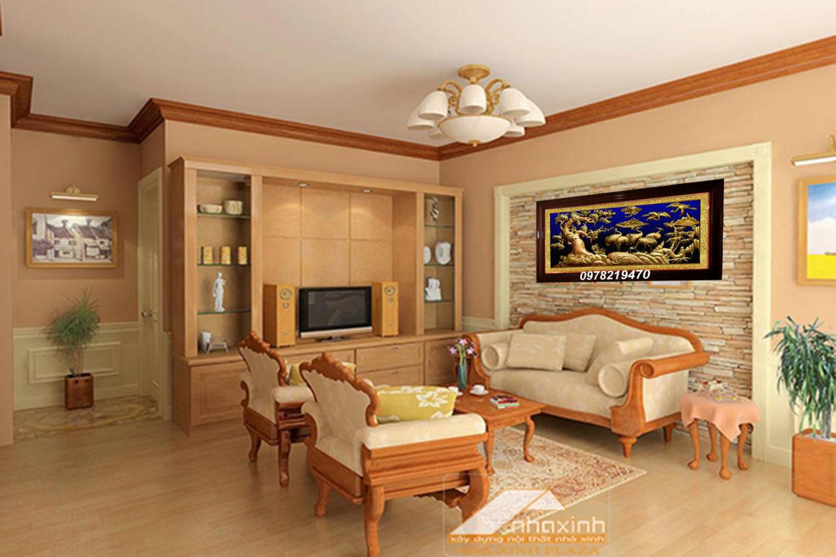 Tranh đồng trang trí phòng khách - Tranh tùng hạc ăn đêm TH04 - Malanaz.com sale 50% - giao hàng toàn quốc