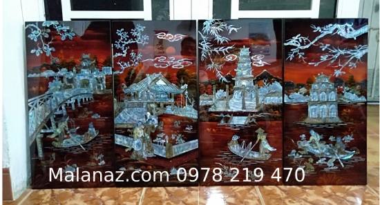 Tranh sơn mài cao cấp - Tranh tứ đền MTD01A