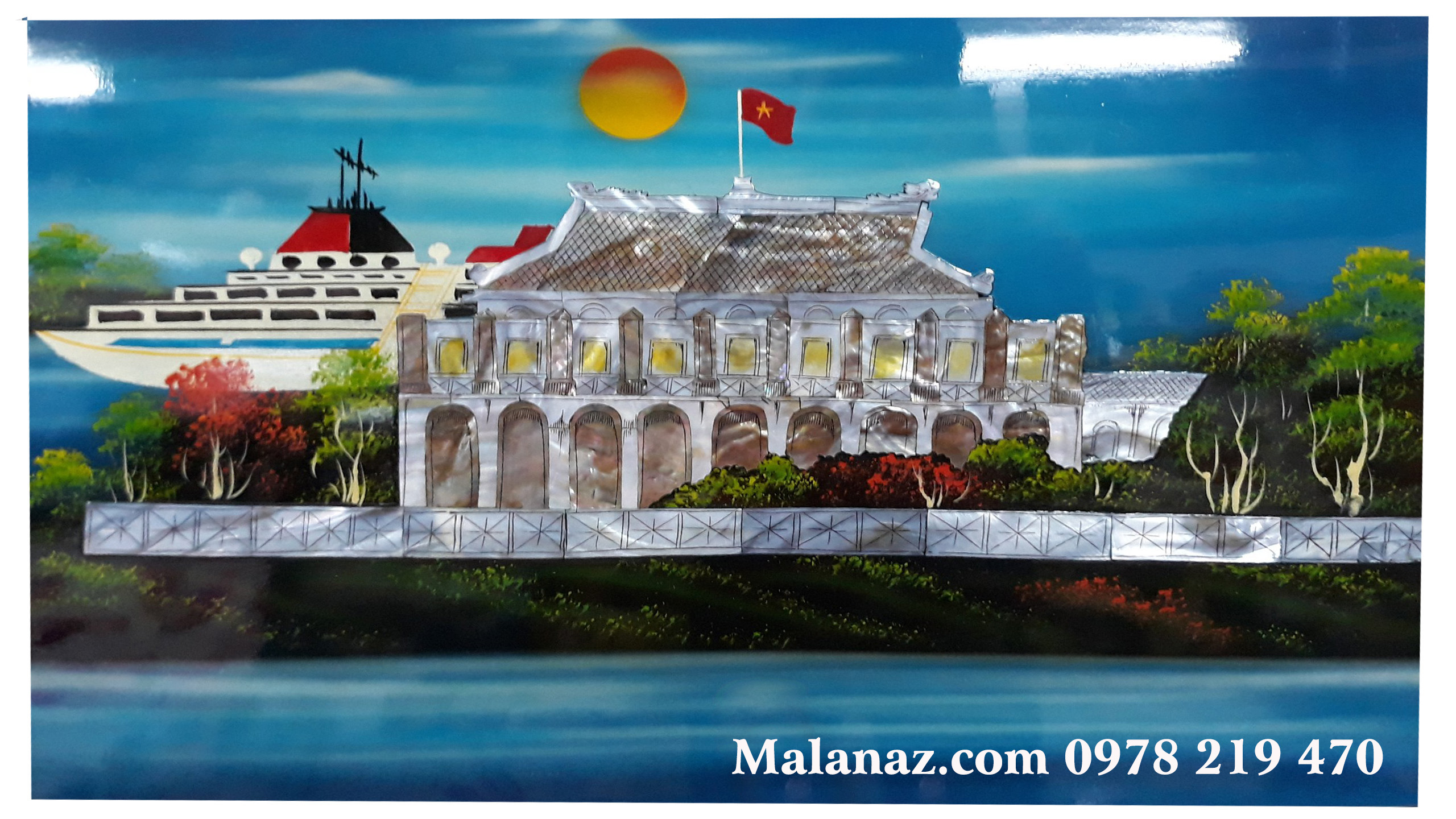 Tranh sơn mài cao cấp Hà Nội - Phong cảnh Nhà Rồng - NR02
