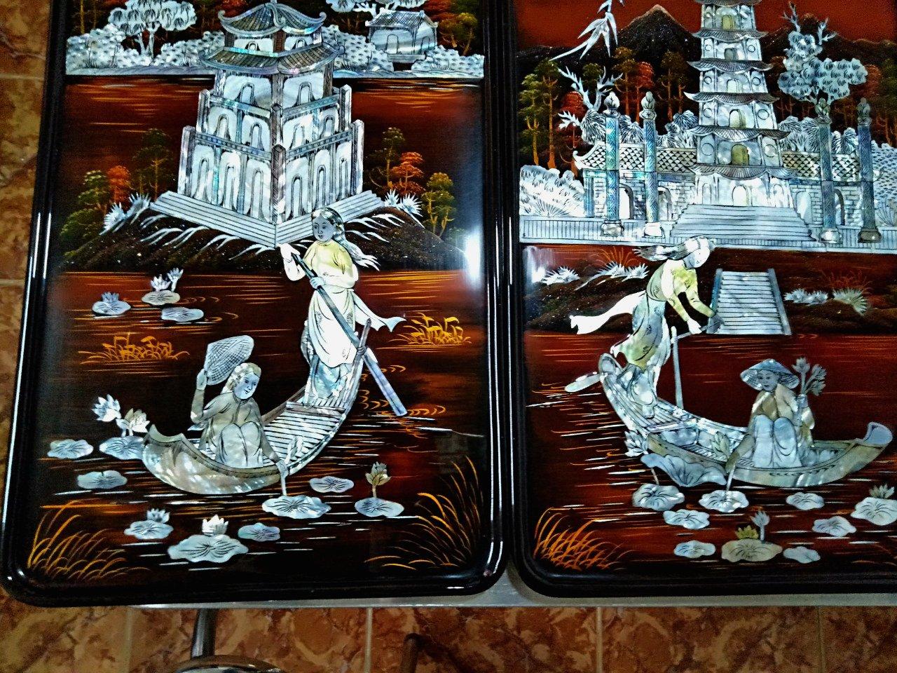Tranh soen mài cao cấp - Tranh Sơn mài Tứ Đền TD02 - SALE OFF - Malanaz Shopping
