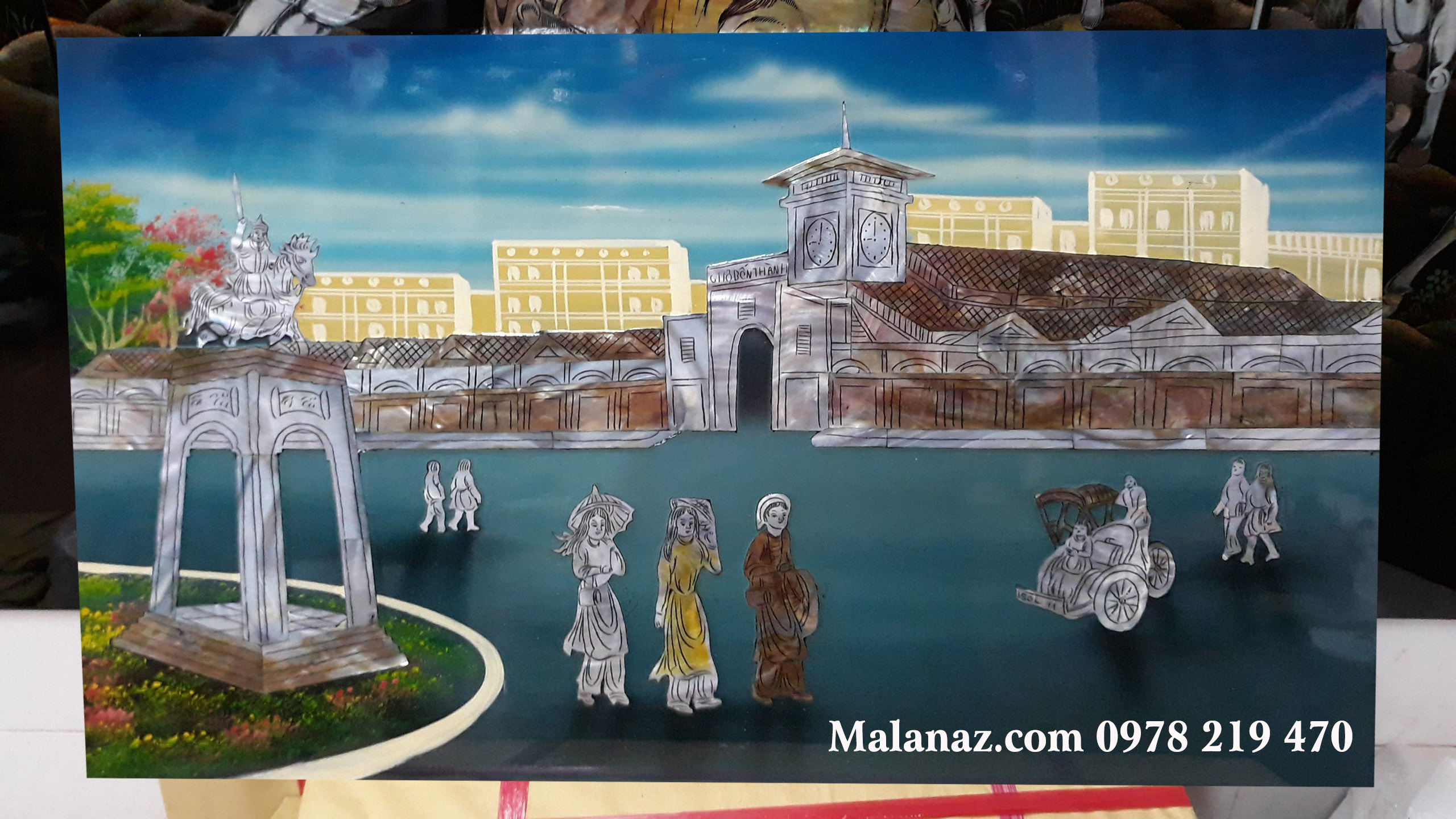 Tranh sơn mài phong cảnh TPHCM - Chợ Bến Thành BT02