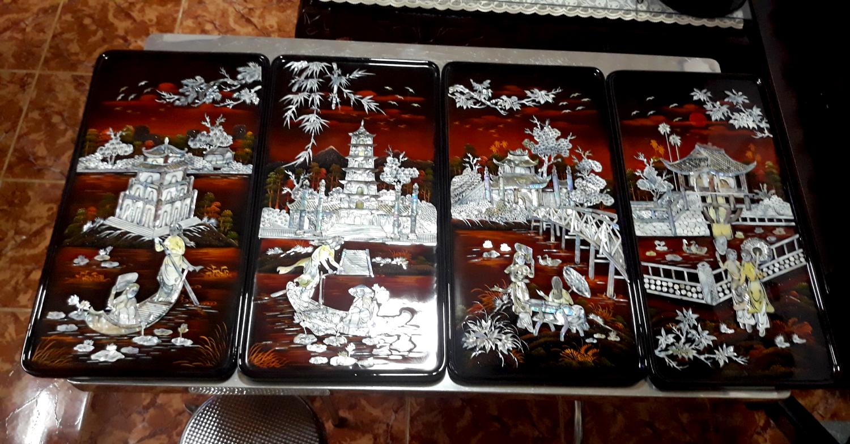 Tranh soen mài cao cấp - Tranh Sơn mài Tứ Đền TD02 - SALE OFF