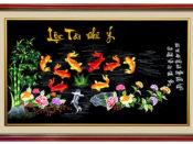 tranh thêu cao cấp - Tranh thêu quần ngư hội tụ TQN 01A