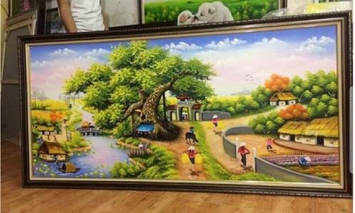 Tranh sơn dầu treo phòng khách - Tranh sơn dầu đồng quê - SDQ03