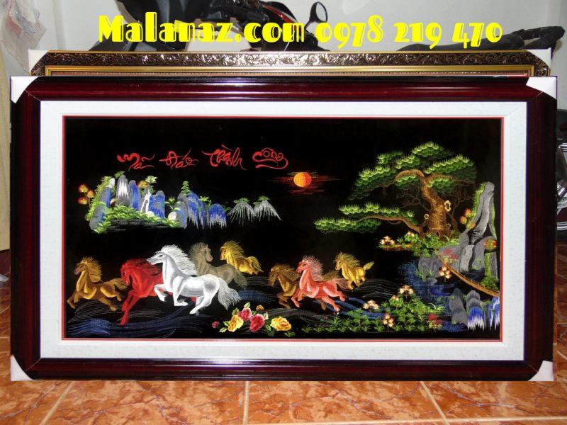 Tranh tặng tân gia - Tranh thêu Mã đáo - TMD07B