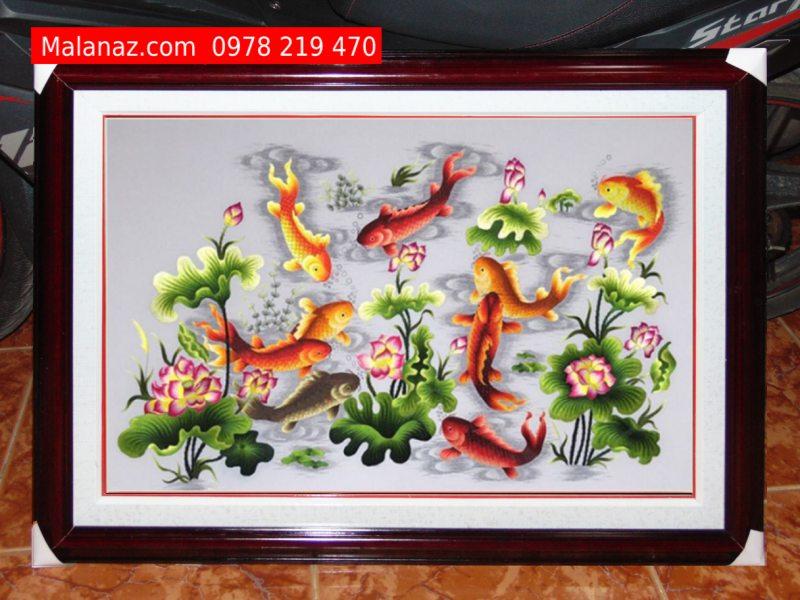 Tranh thêu tay Quần Ngư Hội Tụ - TQN08A