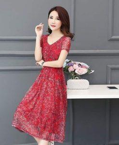 Đầm Dạ hội Style Hàn Quốc - Hoa Đỏ In Nhiệt 3D Voan Lụa Cao Cấp - DPN03S