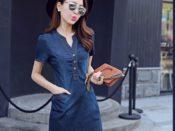 Đầm Jean Cộ V Nẹp Viền Phối Túi Happy Time - DPN24R
