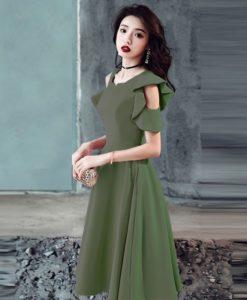 Đầm tiệc - Dạ Hội - STYLES Hàn Quốc - cổ tim đầm xòe màu xanh - DPN12