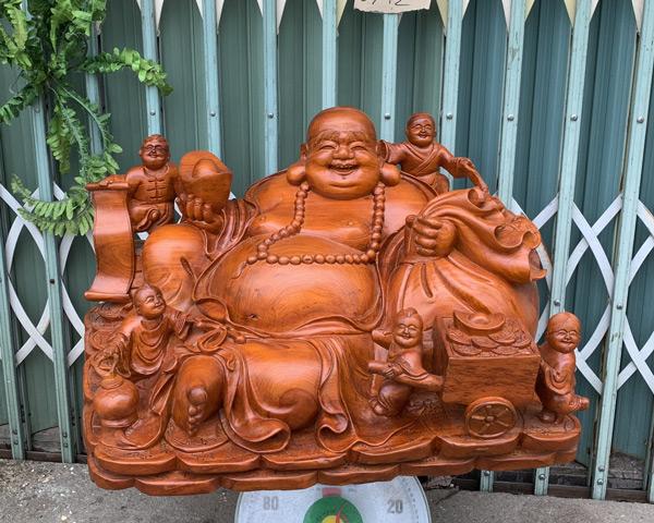 Tượng gỗ đẹp - Di lặc ngồi ngũ phúc cực khủng TGGL07C