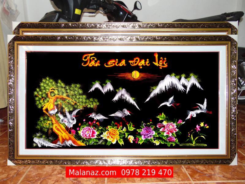 Tranh thêu tay Huế - Tranh tùng Hạc - TTH04