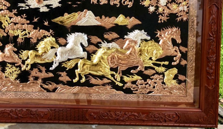 Tranh đồng cao cấp - Tranh tặng tân gia - tranh rát vàng - bạc ( tranh đồng tam khí )