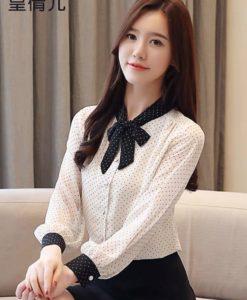 Áo Styles Hàn Quốc - Áo cổ thắt nơ chấm bi PN24B