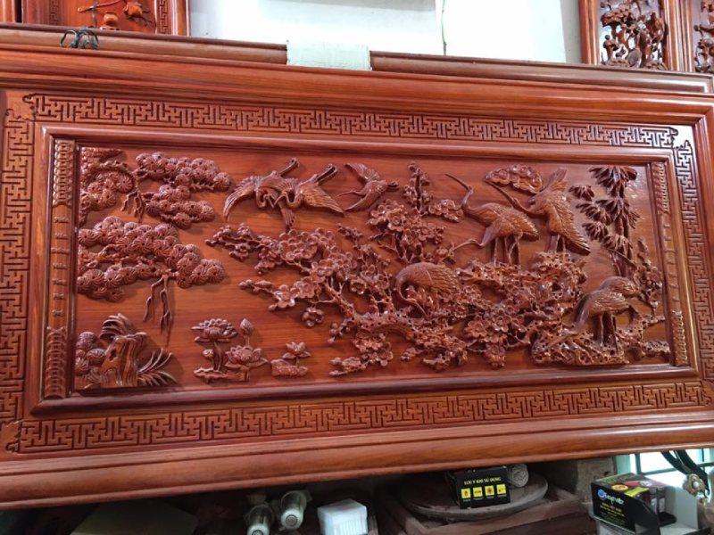 tranh gỗ cao cấp - tùng hạc diêm niên