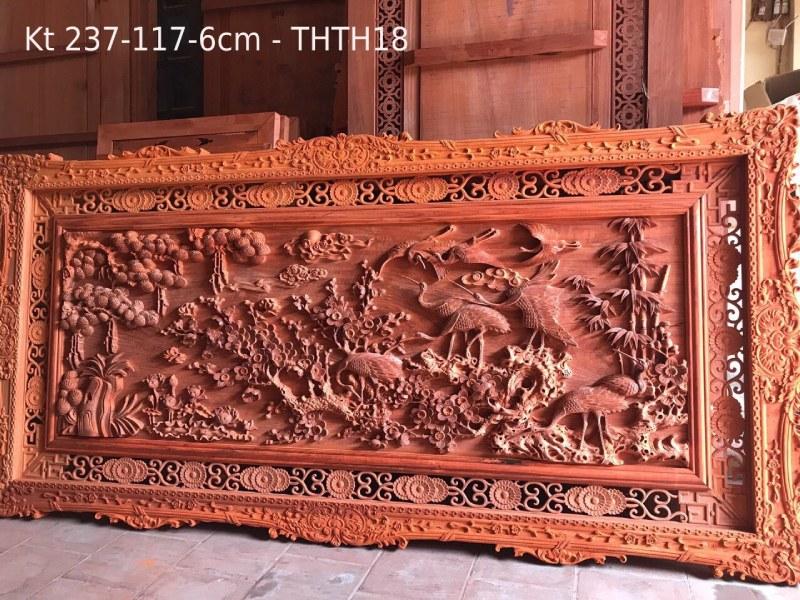 Tranh gỗ cao cấp - tùng hạc Kt 237-117-6cm - THTH18