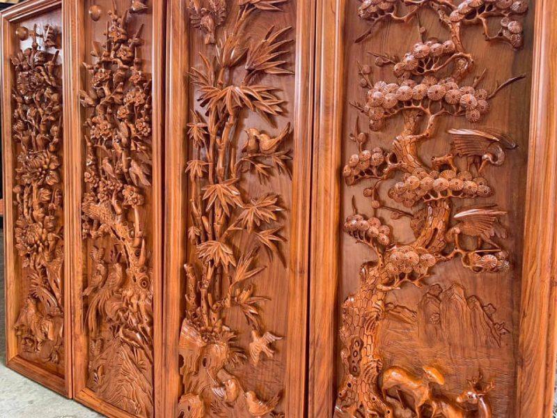 Tranh gỗ VIP - Tranh tứ quý bốn mùa KT 42x127x5 - PTTQ18MA (1)