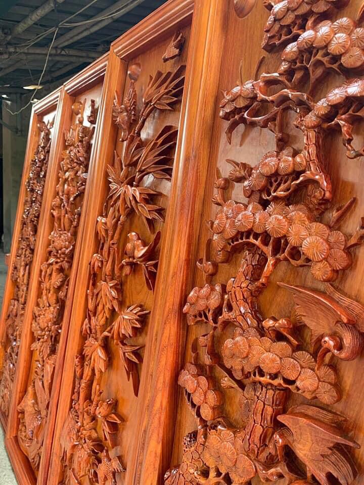 Tranh gỗ VIP - Tranh tứ quý bốn mùa KT 42x1B27x5 - PTTQ18M