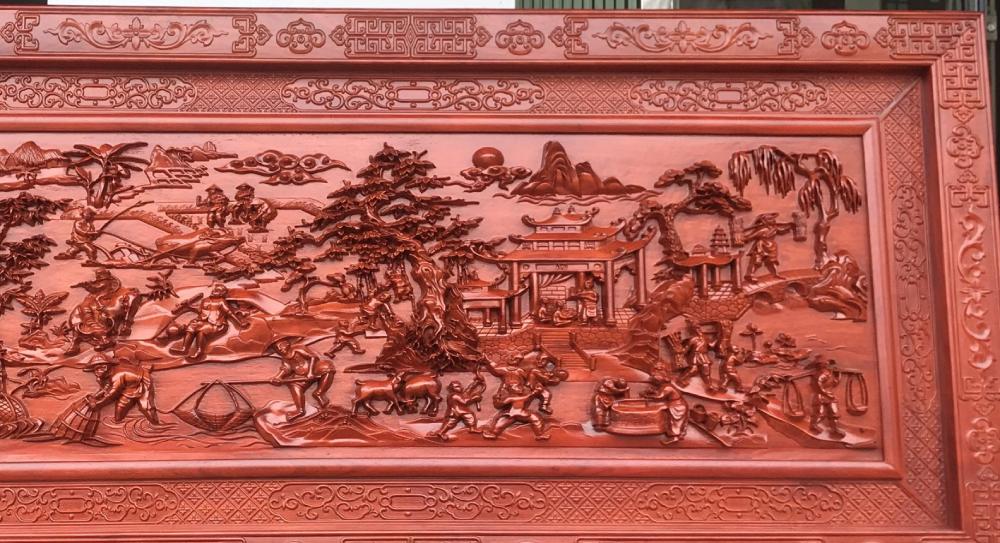 Tranh gỗ cao cấp đồng quê - HTDQ10 - Tranh gỗ treo phòng khách  - tranh gỗ phong thủy
