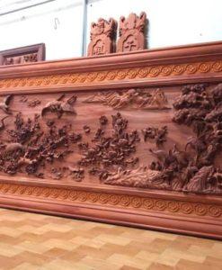 Tranh gỗ cao cấp - cửu hạc du xuân - kt 385x142x7 (1)