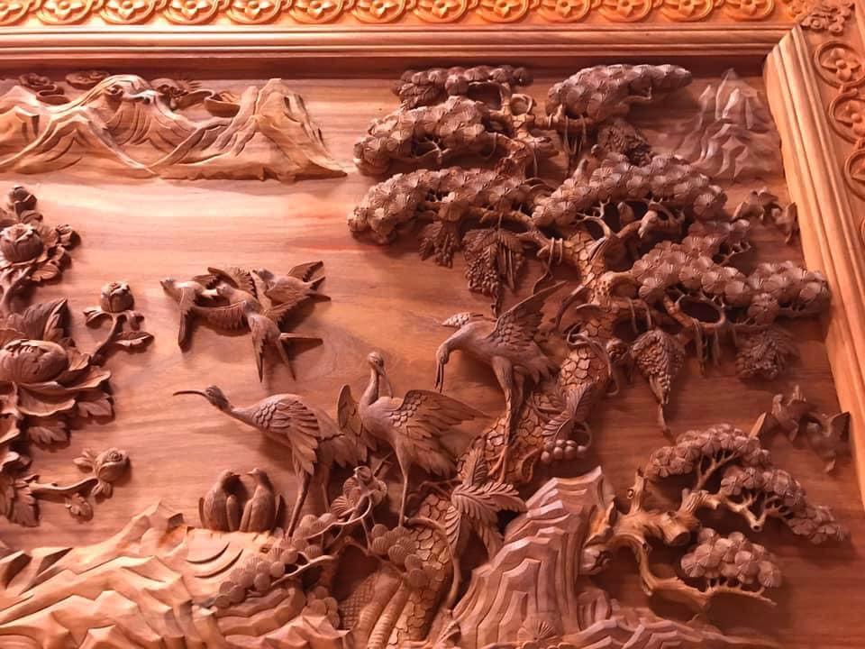 Tranh gỗ cao cấp - cửu hạc du xuân - kt 385x142x7 - Malanaz Shopping Sale off 30% giao hàng nhanh
