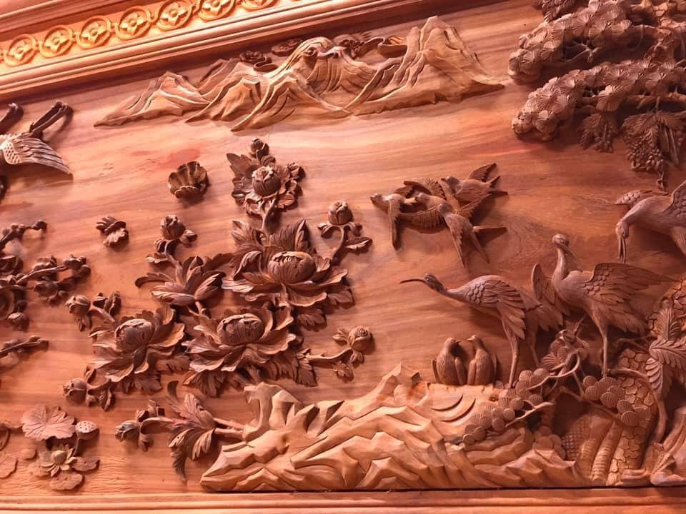 Tranh gỗ cao cấp - cửu hạc du xuân - kt 385x142x7 - Malanaz Shopping Sale off 30% giao hàng nhanh toàn quốc