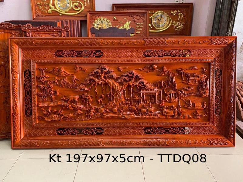 Tranh gỗ phong thủy Kt 197x97x5 - TTDQ08 (1)