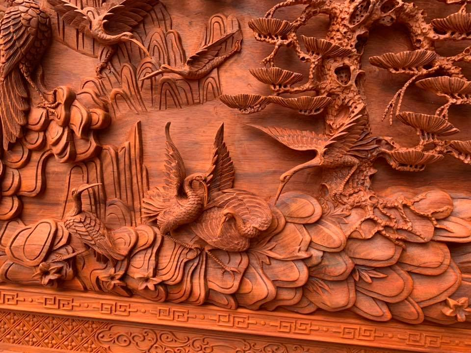 Tranh gỗ phu thê viên mãn - 217 x 117 x 8cm - HH03A