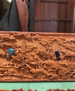 Tranh gỗ siêu phẩm tùng hạc du xuân 95 x195x6,5 - PTTH19A