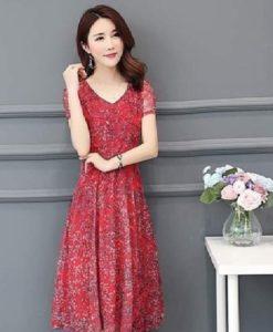 Đầm Hoa Đỏ Bông Lúa In Nhiệt 3D Voan Lụa Cao Cấp - TP44K (1)