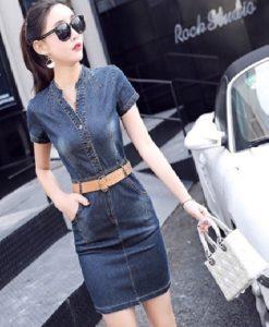 Đầm Jean Cổ Trụ V Ôm Body Năng Động - TP54A (1)