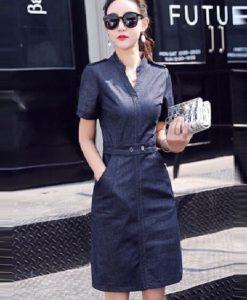 Đầm Jean Suông Cổ Trụ V Gài Nút Thắt Eo - TP51 (1)
