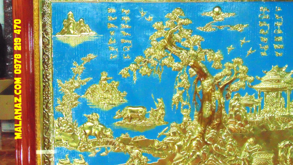 Mua tranh đồng TPHCM - Tranh đồng quê - KT 71 x 110cm - DDQ20 Giá tốt